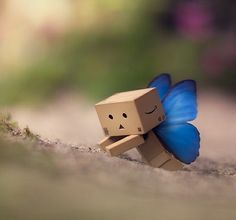 Took me ages before I had a shot with the butterfly wings ok. Butterflies are free Danbo, Miss Piggy, Cardboard Robot, Box Robot, Amazon Box, Black Background Wallpaper, Cute Box, Cartoon Pics, Little Boxes