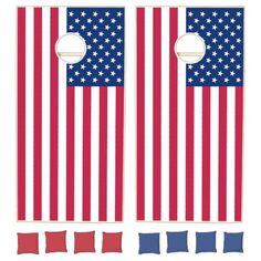 USA American Flag Patriotic Cornhole Lawn Game Set #Cornhole #lawngames #games