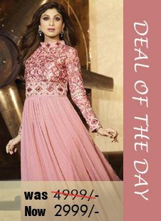 Deal of the day - Pink Faux Georgette #Anarkali #suit! Was Rs. 4,999, Now only Rs. 2,999! Grab your piece before the deal closes on 28th Aug 2014.  Order Now@ http://zohraa.com/peach-faux-georgette-anarkali-suit-karmashilpashetty6008.html