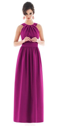 Alfred Sung Floor Length Magenta Bridesmaid Dress, STYLE D493, 625 Watermelon, via Weddington Way
