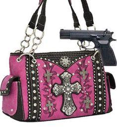 Pink Western Cross Rhinestone Concealed Carry Purse  #HBM #Hobo