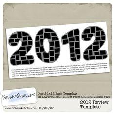 2012 Review Template at Digital Scrapbooking Studio for $2.99 #digitalscrapbooking #nibblesskribbles #template