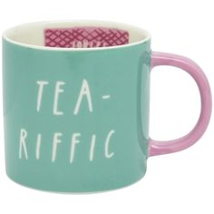 Joules Cuppa Mug - Tea-Riffic ($12) ❤ liked on Polyvore featuring home, kitchen & dining, drinkware, pink, porcelain tea mugs, hot tea mug, porcelain mugs, tea mugs and pink mug