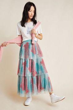 Lianne Pleated Midi Skirt by Pankaj & Nidhi in Blue Size: Women's Skirts at Anthropologie Boho Fashion, Autumn Fashion, Fashion Dresses, Modest Fashion, Anthropologie, Underbust Corset, Pleated Midi Skirt, Skirt Outfits, Modest Outfits