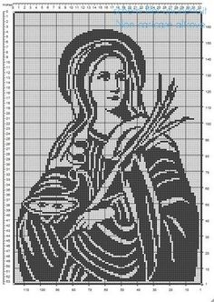 Santa Lucia schema uncinetto filet gratis Santa Lucia, Crochet Toddler Dress, St Anne, 1st Century, Needlepoint Patterns, Blessed Virgin Mary, Scroll Saw, New Testament, Filet Crochet