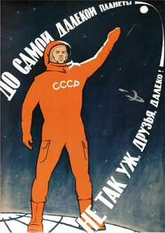 vintage space race ussr usa astronaut old poster retro