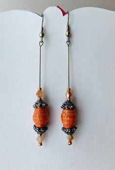 Unique Orange Drop Dangle Paper Bead Earrings