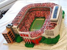 #UGA football stadium cake from Cup a Dee Cakes. She does exquisite work!