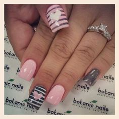 Simple pink and black Valentine's Day Nails
