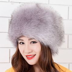 Women Ladies Fluffy Faux Fox Fur Russian Cossack Style Winter Hat Warm Cap  at Banggood Beanie 1c7c51f60fae