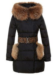 $30.99 Fur Stitching Pockets Waistband Beam Waist Thickened Long Sections Solid Color Down Jacket For Women