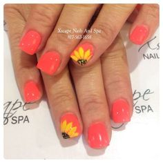 Sunflower   Awesome Spring Nails Design for Short Nails   Easy Summer Nail Art Ideas