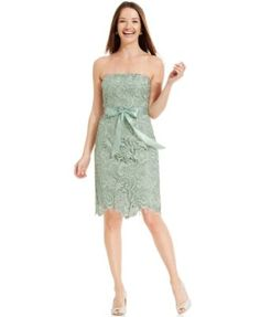LOVE this color green-- dress is ok....Adrianna Papell Strapless Lace Sheath