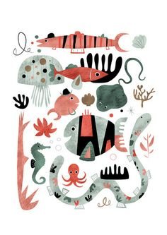 Children Illustration, Art, Paintings and Making Stuff by Sarah Andreacchio Meer Illustration, Graphic Illustration, Octopus Illustration, Illustration Inspiration, Illustrator, Fish Art, Fish Fish, Illustrations Posters, Art For Kids