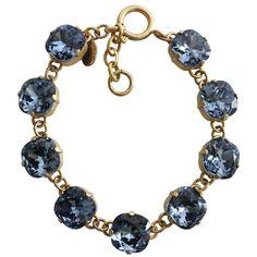 "Catherine Popesco 14k Gold Plated Crystal Round Bracelet, 7-8"" 1696G Midnight"