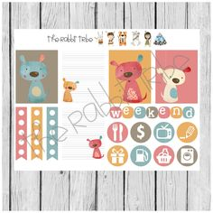 Weekly sticker set - scrappy dogs - planner stickers by TheRabbitTribe on Etsy