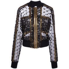 Elie Saab     Gold Embroidered Bomber (11.650 RON) ❤ liked on Polyvore featuring outerwear and jackets