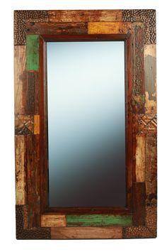 Hondo Creek  Reclaimed Rustic Mirror-Mexican-23x37 in-Western-Repurposed-Primitive-Western-Vintage Look-Antique Tins by RanchoAdobe on Etsy