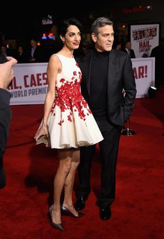 "Amal Clooney in Giambattista Valli at the premiere of ""Hail, Caesar!"". Photo: Kevin Winter/Getty Images."