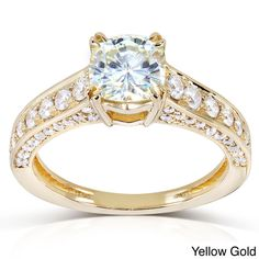 Annello by Kobelli 14k Gold Cushion-cut Moissanite and 1/2ct TDW Diamond Engagement Ring