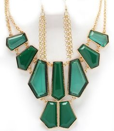 Chunky Gold Emerald Green Statement Fashion Jewelry DESIGN Necklace Earrings Set $22.99