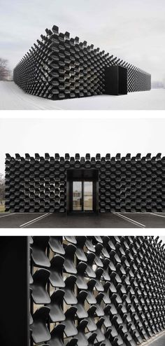 In a creative use of modern architecture, studio CHYBIK+KRISTOF clad a furniture gallery in over 900 black plastic seats. The result is an unconventional business card.
