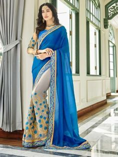 Blue And Grey Georgette Embroidered Designer Half N Half Saree Trendy Dresses, Sexy Dresses, Beautiful Dresses, Fashion Dresses, Fancy Sarees, Party Wear Sarees, Indian Dresses, Indian Outfits, Indian Clothes