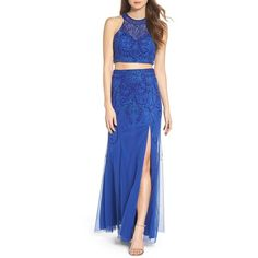Women's Sean Collection Mesh Two-Piece Gown ($378) ❤ liked on Polyvore featuring dresses, gowns, royal, mesh dress, backless dresses, blue evening gown, two piece evening dresses and sparkly dresses