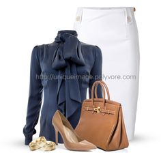 White pencil skirt, navy shirt, taupe accessories. The office never looked so good:)