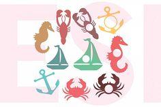 Nautical Silhouettes and Monogram Designs Set from DesignBundles.net