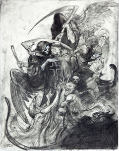 "Simon Bisley Illustrations From the Bible: A Work in Progress ""St. Anthony Beset by Demons and Temptations"" Illustration Original Art (c. 1999).  This awesome pencil on paper drawing has an overall size of 15"" x 19"", and the art is in Excellent condition."
