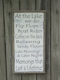 Lake Sign / Lake Wall Decor / Wooden Lake Sign / Wood Sign / Farmhouse Wall Decor / Beach Wall Decor / Cabin Wall Decor At the Lake Wood Sign Lake Rules Wooden Sign by leapoffaithsigns