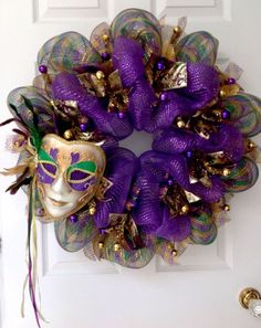 New Mardi Gras Wreath Feather Venetian Mask Handmade Deco Me.- New Mardi Gras Wreath Feather Venetian Mask Handmade Deco Mesh online shopping – Wehaveover - Mardi Gras Outfits, Mardi Gras Costumes, Party Costumes, Mardi Gras Centerpieces, Mardi Gras Decorations, Mardi Gras Wreath, Mardi Gras Beads, Mardi Gras Food, Mardi Gras Party