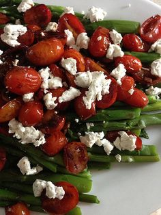 Recipe: Asparagus with Balsamic Tomatoes {Cooking Light}.......substitute goat cheese with feta! Goat cheese is NASTY!