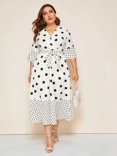 To find out about the Plus Polka Dot Surplice Front Belted Dress at SHEIN, part of our latest Plus Size Dresses ready to shop online today! Belted Dress, Dot Dress, Striped Dress, Plus Size Dresses, Plus Size Outfits, Curvy Dress, Plus Size Kleidung, African Fashion Dresses, Look Fashion