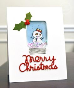 Glittery Pop up 3D Christmas Card Snow Covered Village /& Sign White /& Green Tree