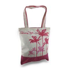 Panama Jack Palm Tree Silhouettes Zippered Jute Shoulder Tote Bag (SSPJ120), Tote & Shopping Bags