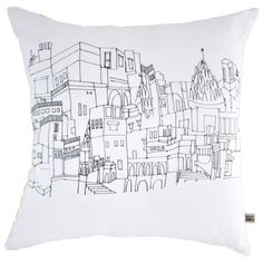 A hand screen printed cushion illustrated with the buildings along the ghats of Varanasi, the holiest city in India: https://clippings.com/products/varanasi-cushion-110051