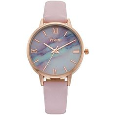 Vivani Women's Faux Marble Watch ($15) ❤ liked on Polyvore featuring jewelry, watches, pink, dial watches, artificial jewellery, marble jewelry, pink dial watches and imitation jewellery