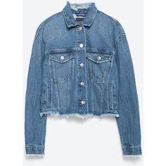 Zara Denim Jacket (315 VEF) ❤ liked on Polyvore featuring outerwear, jackets, blue, zara jacket, blue jean jacket, jean jacket, blue jackets and denim jacket