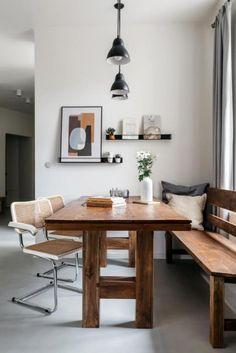 Rekonstrukce bytu 3+1 v Bubenči   Infinity Interiér Dining Area, Dining Bench, Scandinavian Interior, Layout, Interior Design, Furniture, Home Decor, Nest Design, Decoration Home