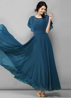 Dark Teal Chiffon Maxi Dress with Modified Dolman Sleeves - Maxi Dresses Indian Gowns Dresses, Mob Dresses, Fashion Dresses, Dresses With Sleeves, Long Gown With Sleeves, A Line Dresses, Party Wear Maxi Dresses, Simple Dresses, Pretty Dresses