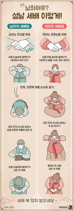[그래픽뉴스] 설날 세배하는 법 Korean New Year, Learn Korean, Information Design, Information Graphics, Sense Of Life, Korean Art, Korean Traditional, Korean Language, Kindergarten Activities