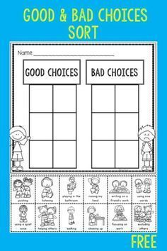 Behavior Expectations and Think Sheet Free good and bad choices sort is great for the beginning of the year in kindergarten or first grade. Students sort pictures of good and bad choices. Classroom Behavior, Kindergarten Classroom, Future Classroom, Classroom Decor, Classroom Expectations, Beginning Of Kindergarten, Kindergarten Orientation, Preschool Behavior, Kindergarten Freebies