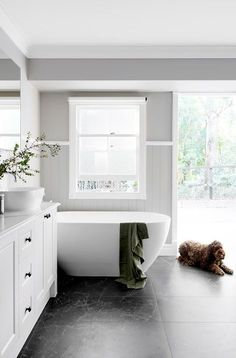 Former Block contestants transform a heritage Queenslander home The Hamptons style bathroom is a family-friendly space where Murphy the mini labradoodle is also welcome. Hampton Style Bathrooms, Grey Bathrooms, Bathroom Renos, White Bathroom, Bathroom Renovations, Home Renovation, Small Bathroom, Master Bathroom, Bathroom Ideas