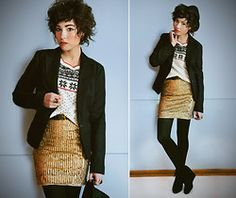 Thrifted Black Blazer, Pimkie Cozy Christmas Sweater, Alice + Olivia Gold Sequin Dress Worn As Skirt, Forever 21 Fedora, Thrifted Leather Be...