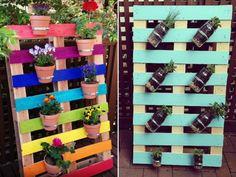 décoration de jardin -supports-muraux-pots-fleurs-palettes-bois