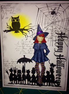 Another Julie Nutting Prima paper doll stamp Little Miss Witchie Poo and Tim Holtz Halloween set.