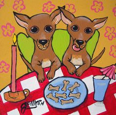"""Chihuahuas """"Dog Biscuits by Candlelight""""  New Original Painting Julie Ellison Art"""