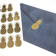 Gold foil pineapple stickers. Envelope seals for summer parties, weddings, events. Decals for planners, journals, calendars, or scrapbooks.